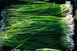 Green onion at the street market