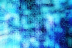 Horizontal blue cyberspace digital abstraction backdrop