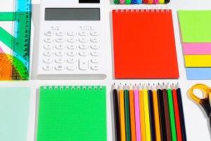 School accessories on white