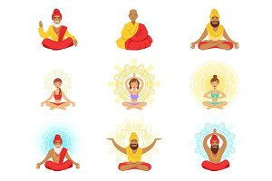Yogis and sages, people in the Lotus position, expansion of consciousness and meditation