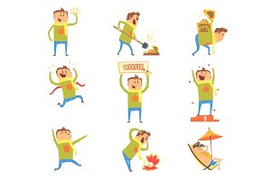 Lucky Man Having Good Luck And Sudden Stroke Of Fortune Series Of Comic Vector Illustrations