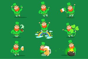 Classic Leprechaun In Green Outfit Set Of Emoji Illustrations With Cartoon Character And Irish Symbols