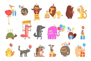 Funky Animals With Party Attributes At The Kids Happy Birthday Celebration Set Of Cartoon Fauna Characters