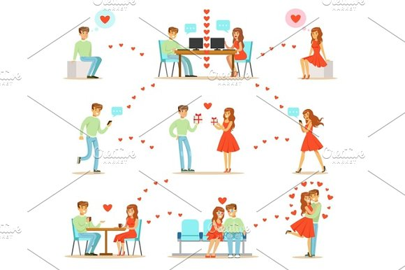 Man And Woman Finding Love And Dating Using Dating Web Sites And App On Smartphones And Computers Infographic Illustration