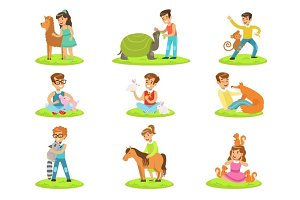 Children Petting The Small Animals In Petting Zoo Collection Of Cartoon Illustrations With Kids Having Fun