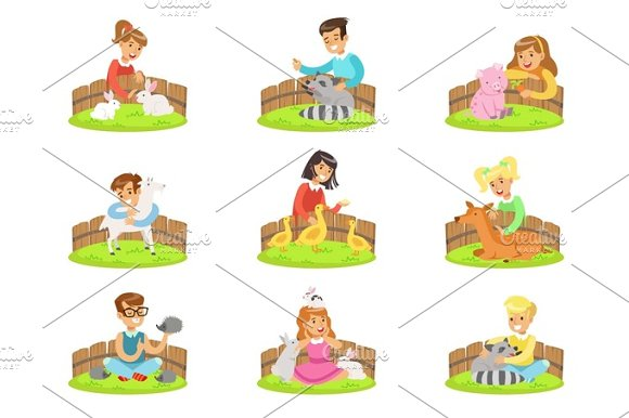 Children Petting The Small Animals In Petting Zoo Set Of Cartoon Illustrations With Kids Having Fun