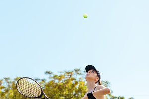 Sportswoman playing tennis