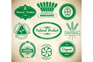 Set of vintage eco labels. Collection 1