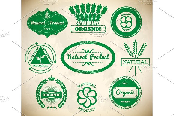 Set Of Vintage Eco Labels Collection 1