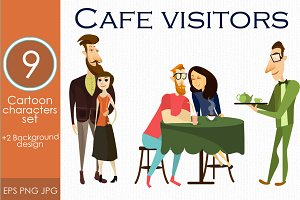 Cafe & restaurant visitor vector set