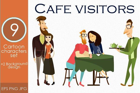 Cafe Restaurant Visitor Vector Set