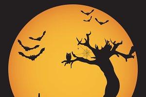 Grunge Halloween night background