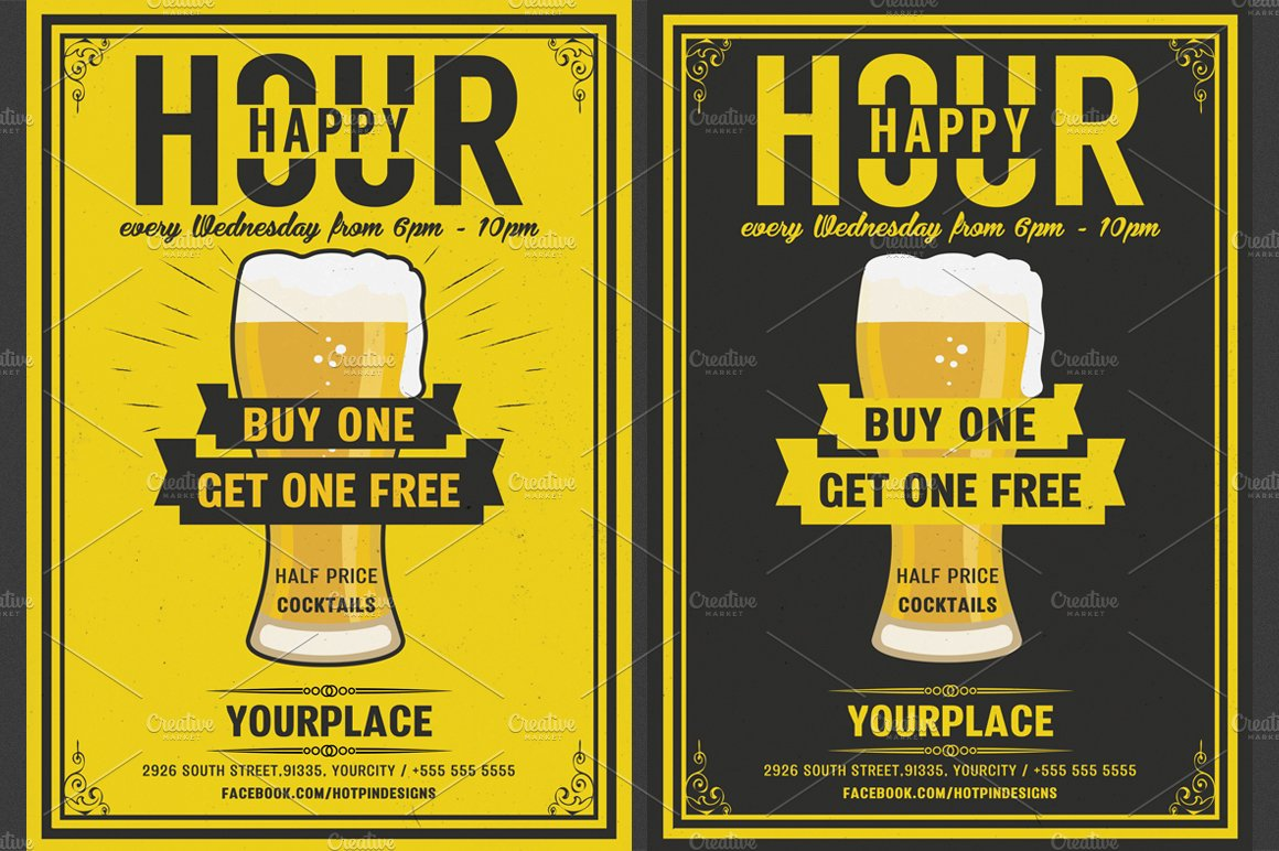 Beer Happy Hour Flyer Template Templates Creative Market