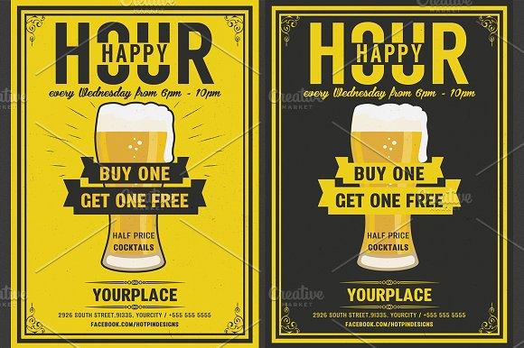 Beer Happy Hour Flyer Template
