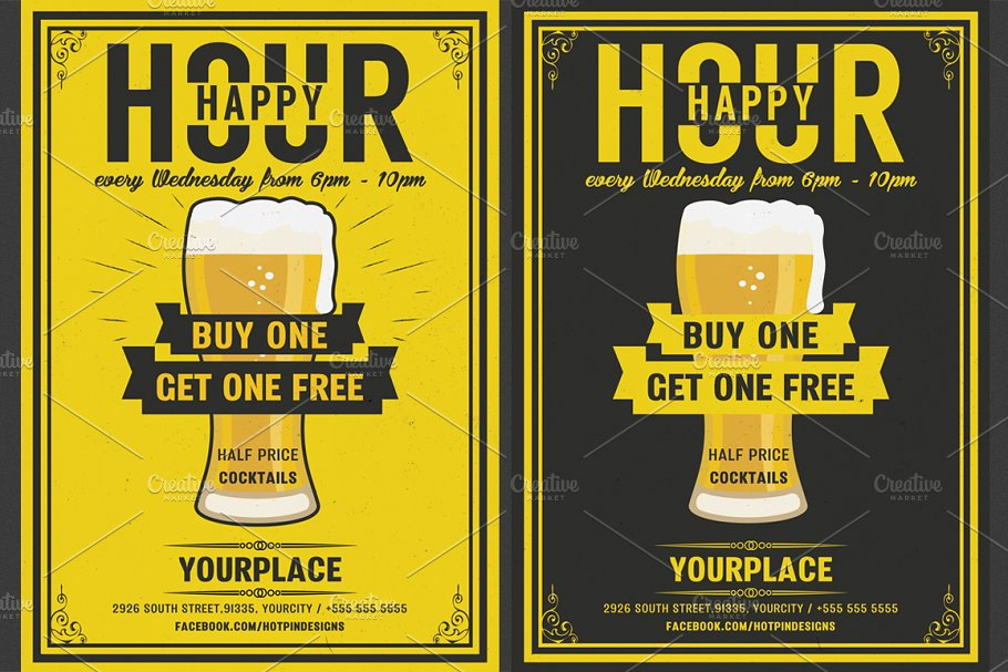 Beer Happy Hour Flyer Template Flyer Templates Creative Market Pro