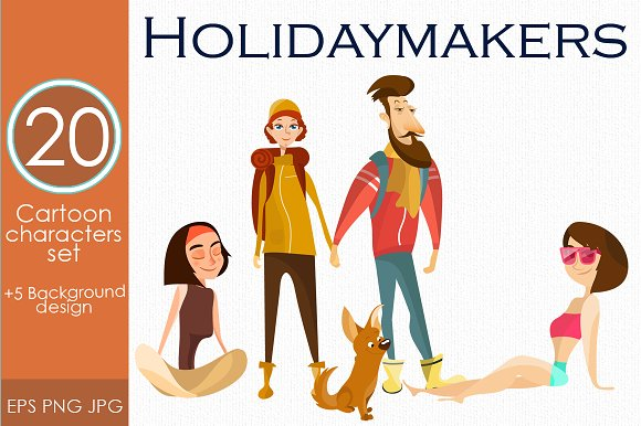 Holidaymakers Characters Vector Set