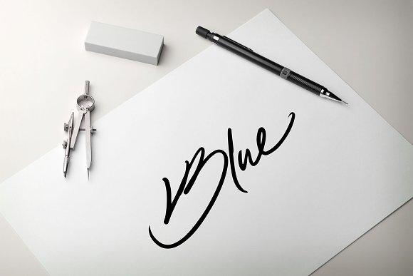 Blue Script Hand Lettering Word