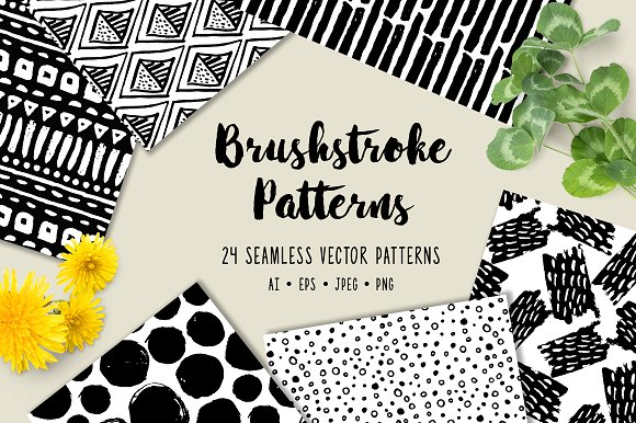 24 Brushstroke Vector Patterns