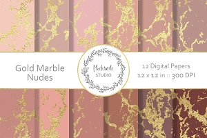 Gold Nudes Marble digital paper
