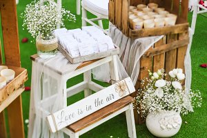Rustic wedding outdoor photo zone