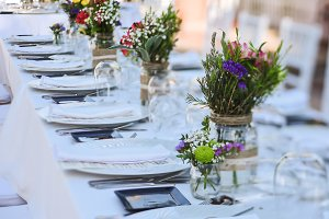 Outdoor wedding celebration in a restaurant
