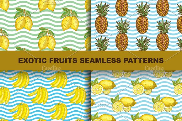 4 Exotic Fruits Seamless Patterns