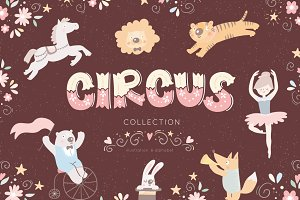 Cute circus illustration & alphabet