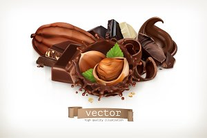 Chocolate bars and pieces. Vector