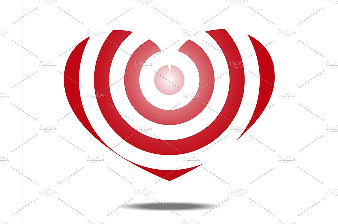 Line Art Of Heart : Heart shaped target ~ illustrations creative market