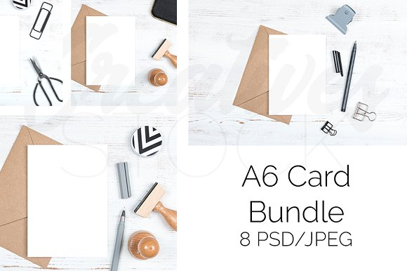 A6 Card Bundle 8 JPEG PSD