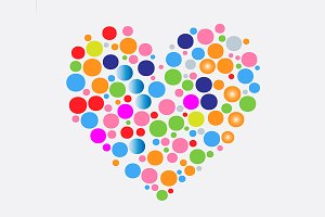 colorful  bubbles inside heart