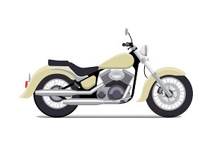 Flat vintage motorcycle vector illustration. Classic chopper. Isolated on white background
