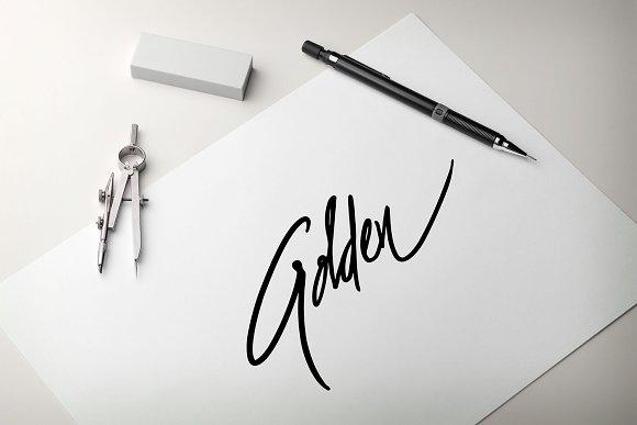 GOLDEN Script Hand Lettering Word