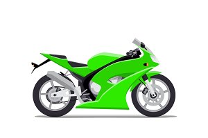 Green sports motorbike. Flat Vector Isolated on white background