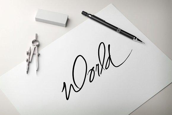 WORLD Script Hand Lettering Word