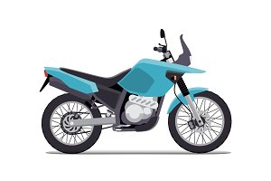 travel motorcycle off road, concept, active lifestyle, enduro. Flat vector illustration. Isolation on white background
