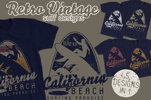 Retro Vintage Surf Designs 5 Tshirts