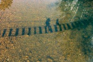 Shadow of wooden bridges