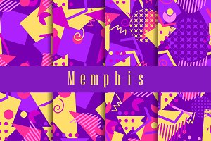 Memphis seamless pattern set