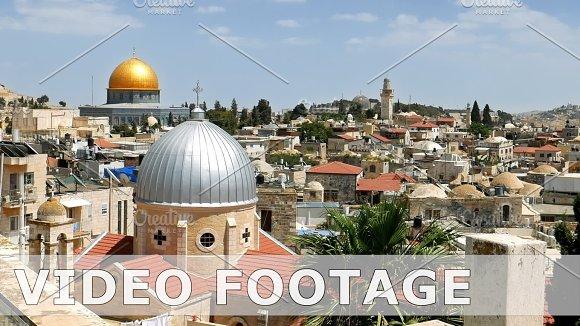 Jerusalem panoramic aerial roof view