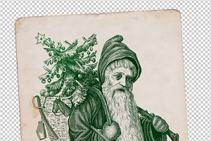 antique Santa Claus poster engraving