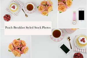 Peach Breakfast Styled Stock Photos