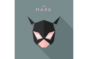 Mask girl Hero superhero flat style icon vector logo, illustration, villain