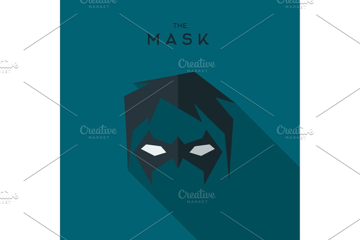 Mask Hero superhero flat style icon vector logo, illustration, villain  in Illustrations - product preview 8