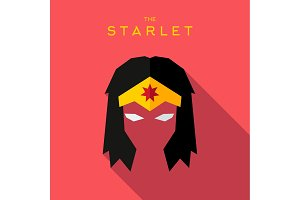 Mask starlet Hero superhero flat style icon vector logo, illustration, villain