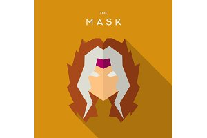 Mask Hero superhero flat style icon vector logo, illustration, villain