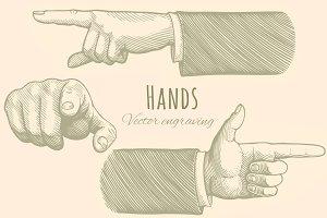 Set Hands. Vector engraving.