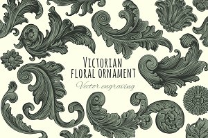 Set Victorian floral ornament