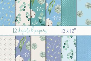 "Digital paper set ""Emerald & blue"""
