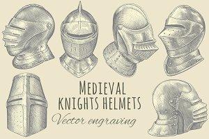 Set Medieval knights helmets